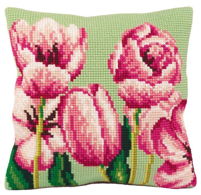 Вышивка розовые тюльпаны 99